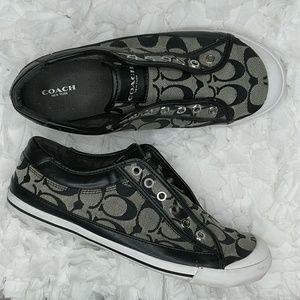 COACH Felix Black & White Slip-On Sneaker Size 9.5